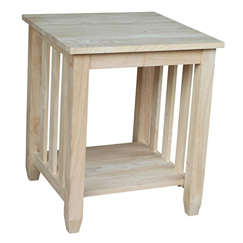 Unfinished Wood End Table (International Concepts BJ6TE Mission Tall End Table, Unfinished)