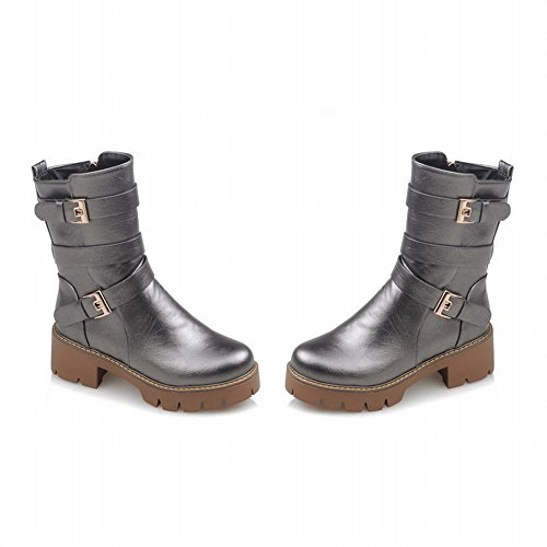 Carolbar Womens Zip Multi Buckle Retro Platform Mid Heel Short Motorcycle Boots Metal-grey GunAxQy