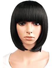 MapofBeauty Popular Short Straight Wigs Flat Bangs Wigs-Black-Lady