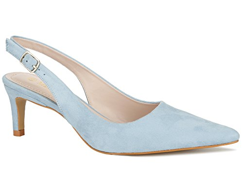 MaxMuxun Women Shoes Sexy Closed Toe Kitten Heels Light Blue Comfortable Slingback Dress Pumps Size 8