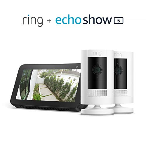 Ring Stick Up Cam Battery 2-Pack with Echo Show 5 (Charcoal)
