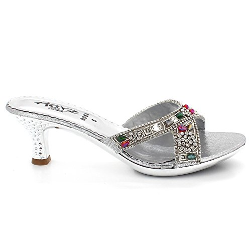 Cristal Glisser compensé Soir Bas des De Talon Dames Chaussures Taille Confort Femmes Sandales mariée Mariage Toe Fête Open Argent sur Diamante 5Afwg