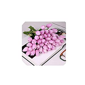 10 Pcs Beauty Real Touch Flowers Latex Tulips Flower Artificial Bouquet Fake Flower Bridal Bouquet Decorate Flowers for Wedding,F 17