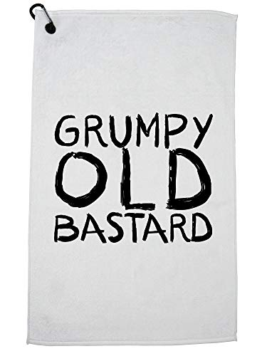 Hollywood Thread Grumpy Old Bastard - Birthday Graphic Design Golf Towel with Carabiner Clip