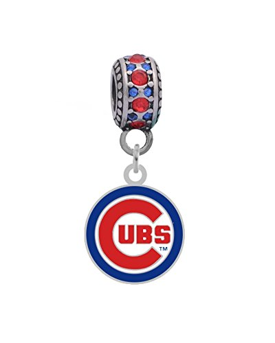 Chicago Cubs Logo Charm Fits Most Bracelet Lines Including Pandora, Chamilia, Troll, Biagi, Zable, Kera, Personality, Reflections, Silverado and More ...