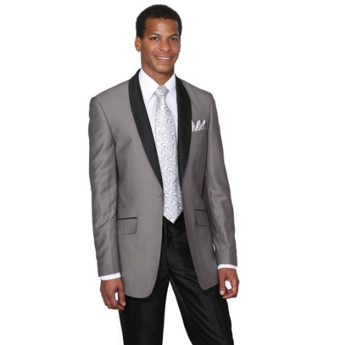 Milano Moda Men's Single Breasted Slim Fit Dress Suit With Black Shawl Collar 5601-Gray-50L