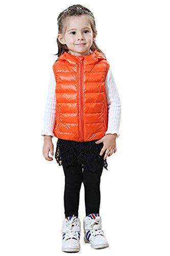 Yming E Gilet Arancione Giù Inverno Delle Leggero Autunno Puffer Donne Bambini Ricoprono Maniche r18p4wxqSr