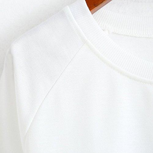 YICHUN mujeres niñas T-shirts Vintage impresión delgado Pullover Sudaderas us4-us12 White 1#