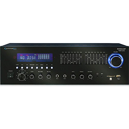 Technical Pro RX55URIBT Professional Receiver with USB & SD Card Inputs and Bluetooth Compatibility, 1500 Watts Peak Power