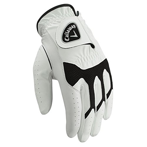 (Callaway White Black Tech Series Tour Regular Right Handed Golf Glove (M))