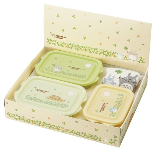 Studio Ghibli My Neighbor Totoro Design Microwavable Food Storage Containers and Washcloth Towel Gift Box Packing