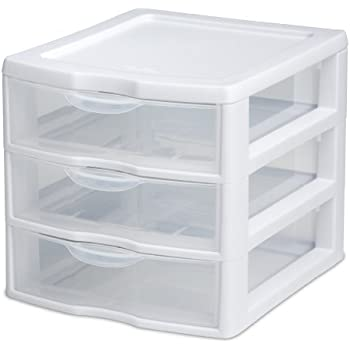Sterilite 20738006 Small 3 Drawer Unit, White Frame with Clear Drawers, 6-Pack