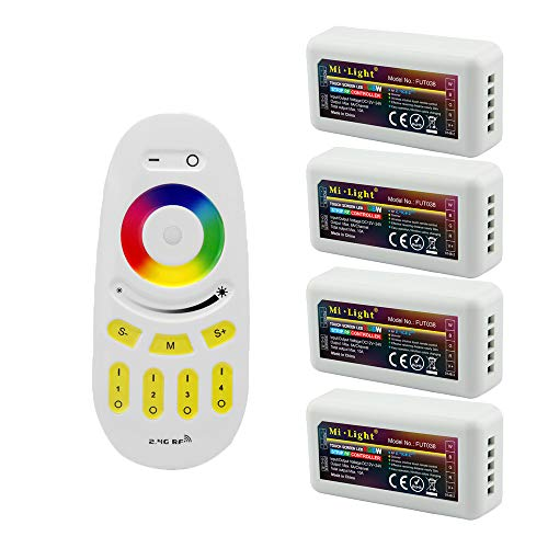 Mi Light Wireless 2.4G RF RGB + White/Warm White Controller Kit, 4 x Controllers and 4-Zone Remote, Wi-Fi Bridge Compatible, 4CH Multicolor RGBW/RGBWW LED Strip Light Controller ()