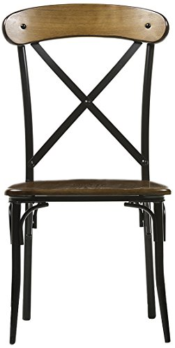Baxton Studio Broxburn Light Brown Wood and Metal Dining Chair (Set of 2) - Vintage industrial dining chair Constructed with tubular metal in an antique black color finish Rectangle backrest with cross slats details - MDF chair seat in brown ash veneer - kitchen-dining-room-furniture, kitchen-dining-room, kitchen-dining-room-chairs - 41npZkpYUfL -