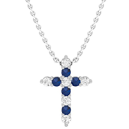 Dazzlingrock Collection 14K Round Blue Sapphire & White Diamond Ladies Cross Pendant, White Gold