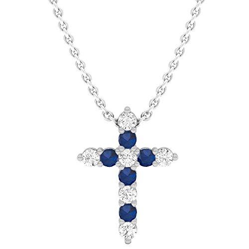 - Dazzlingrock Collection 18K Round Blue Sapphire & White Diamond Ladies Cross Pendant, White Gold