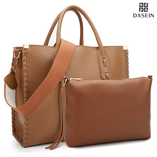 Dasein Women Handbag Vegan Leather Medium Satchel Designer Purse Shoulder Bag Tote Handbag w/Matching Inner Pouch