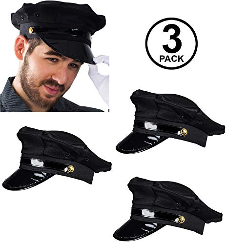 Funny Party Hats Chauffeur Hat - Limo Driver Hat - Police Hat - Costume Hats (3 Pack) Black]()
