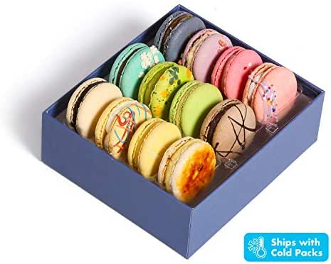 Luxury French Macarons European Cookies Gift Baskets Birthday Snacks Variety Pack Sympathy Anniversary Get Well Corporate Halloween Thanksgiving Holiday Christmas Women Men Her Him Girls Kids Prime 12