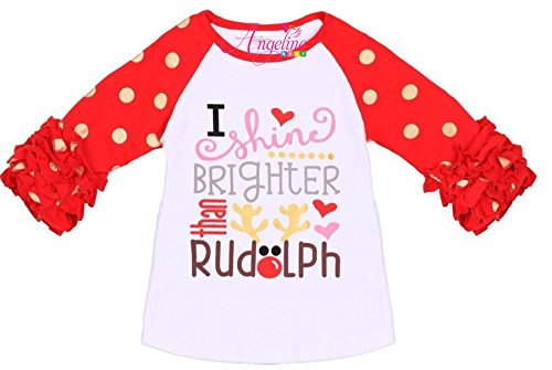 othing Christmas I Shine Brighter Than Rudolph Raglan Tee Shirt Top 6/XL (Party Destination Football)