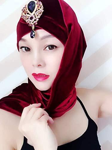 Wine Red Velvet Gemstone Turban,Women Turban,Full Turban,Turban Headband,Turban Hat,Stretch Turban,Fashion Turban,Head Wrap,Headband,Fashion,Gift,Show,Party