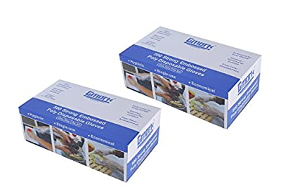 Gmark Disposable Gloves (1000 count) , Food Safe, Poly Food Gloves Latex Free 2 Box of 500 count GM1070