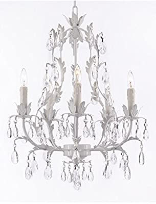 White Wrought Iron Floral Chandelier Lighting Crystal Chandeliers