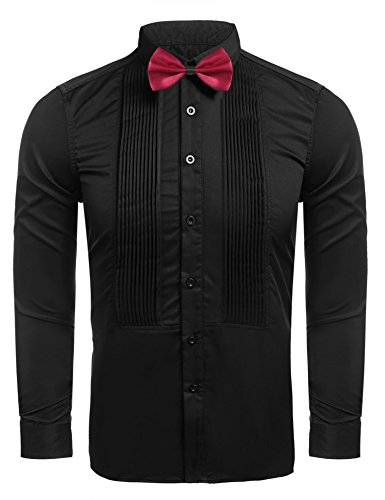 Hasuit Men's Prom Tuxedo Shirts With French Cuffs And Bow Tie, S, Black