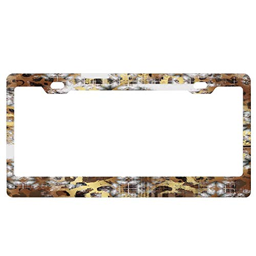 Burnout Animal - SDGlicenseplateframeIUY Geometric Stripe and Animal Print Burn Out Pattern License Plate Aluminum License Plate Cover Heavy Duty Car Tag (12