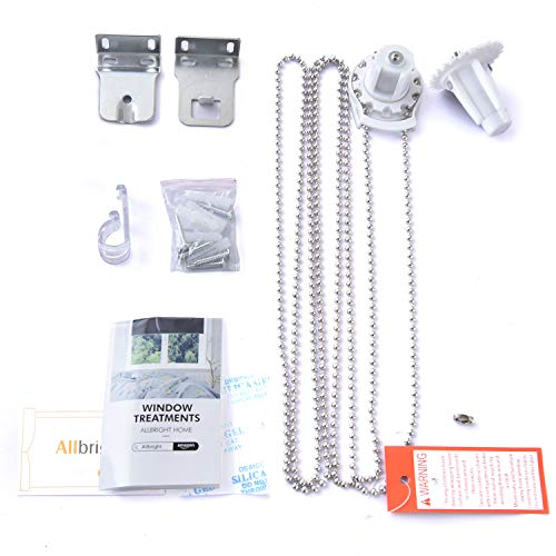 ALLBRIGHT Roller Shade Hardware Components with 1 Stainless Steel Bead, 2 Brackets, 4 Expansion Screws, 4 Screws