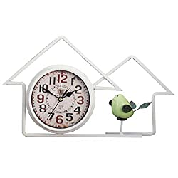 Edge to Shelf Clock Creative Desktop Desktop Retro Home Bedroom Personality American Style Clock Pendulum Clock (Color : White)