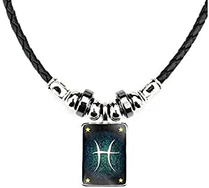 constellation handmade leather necklace with pendant in Pisces design