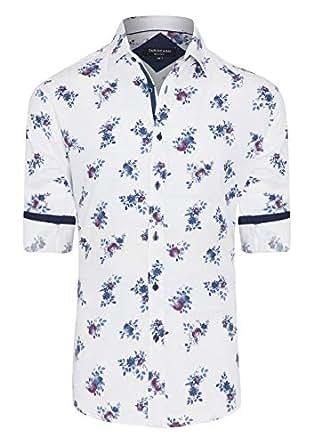 Tarocash Men's Morgan Slim Print Shirt White S Cotton Slim Fit Long Sleeve Sizes XS-5XL for Going Out Smart Occasionwear