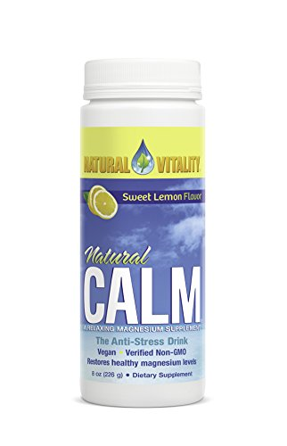 Natural Vitality Calm Supplement - 8 Oz. Sweet Lemon Drink, Anti-Stress Drink, Vegan Formula. Magnesium Drink