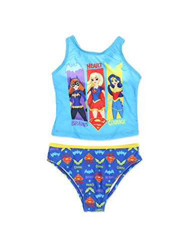 DC Super Hero Girls Swimwear Swimsuit (6X, Blue) -