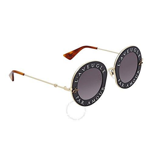 Gucci Round Sunglasses (Sunglasses Gucci GG 0113 S- 001 BLACK / GREY GOLD)
