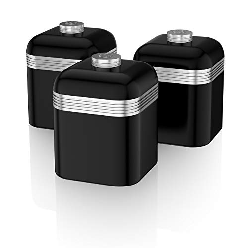 (Swan SWKA1020BN Set of 3 Retro Storage Canisters, Black)