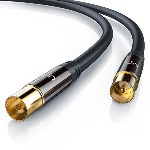 Uplink - 3m 135dB HDTV Antennenkabel 75 Ohm | Premium Koaxialkabel | Koax Stecker > Koax Kupplung | DVB-T und DVB-T2, Radio (UKW/ DAB / DAB+) | robuste Vollmetallstecker | Abschirmmaß 135dB | hochdichte 4-fach Schirmung | schwarz/gold