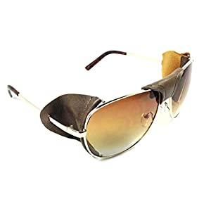 Retro Aviator Sunglasses w/ Faux Leather Bridge & Side Shields (Gold Frame - Brown Leather, Brown)