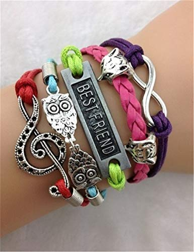 - New Infinity Music owl Symbol Antique Silver Leather Charm Bracelet