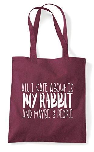 All Animal Funny And I Maybe Care About People Shopper Three Bag Tote Cute My Is Burgundy Themed Rabbit UrUgwq