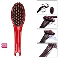 RED Hair Straightener Comb Electric LCD Auto Temperature Control Iron Brush Massager