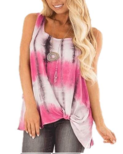 (Women's Summer Sexy Round Neck Sleeveless Damask Twisted Knot Hem Tunic Tops Casual Floral Print T-Shirt Stripe Rose Red L)