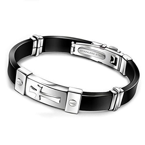 Men's Stainless Steel Black and Sliver Cross Bracelet (Cross-X-) (Sliver Cross)