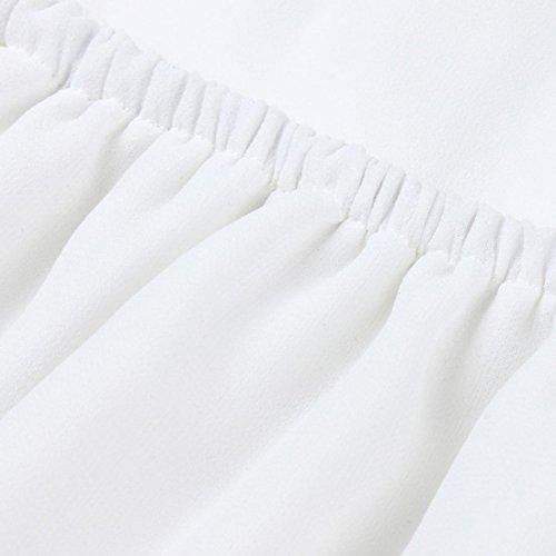 Longues Longues JIANGfu de Blanc Femmes Stomacher Chemisier Dames Shirt Chemisier l'paule Femme T Manches Hors Occasionnels Manches xgwqRg6Cf