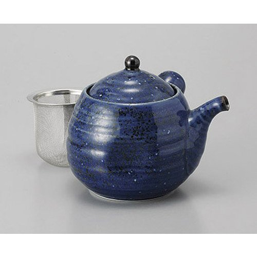 Teapot Blue Glazed Egg teapot (with tea kosi) [11 x 11 cm 500 cc] Ryotei Ryokan Japanese style dish for restaurant business