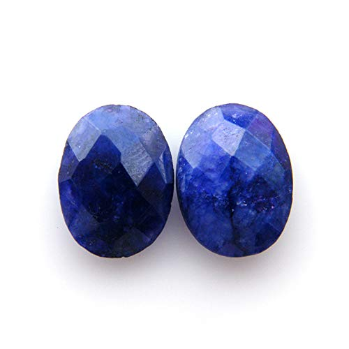 Surbhi Crafts Blue Sapphire Beryl Cabochon Pair 13.55ct Oval Shape Blue Beryl 15x12x5mm, K-3884 by Surbhi Crafts
