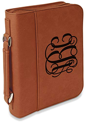 Interlocking Monogram Leatherette Bible Cover with Handle & Zipper - Large- Single Sided (Personalized) ()