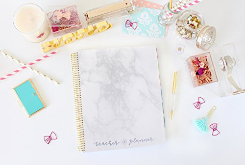 "bloom daily planners Undated Academic Year Teacher Planner & Calendar - Lesson Plan Organizer Book (9"" x 11"") - Marble"