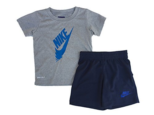 Nike Little Boys 2 Piece Swoosh T-Shirt Tee & Mesh Shorts Set (4) -